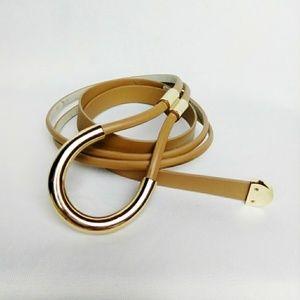 Vintage Wrap Tie Waist Belt Tan Gold
